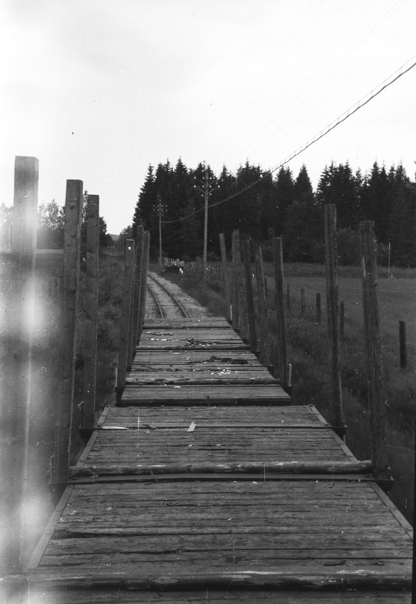 Tog 2058 til Sørumsand. To etterhengte tømmervogner.