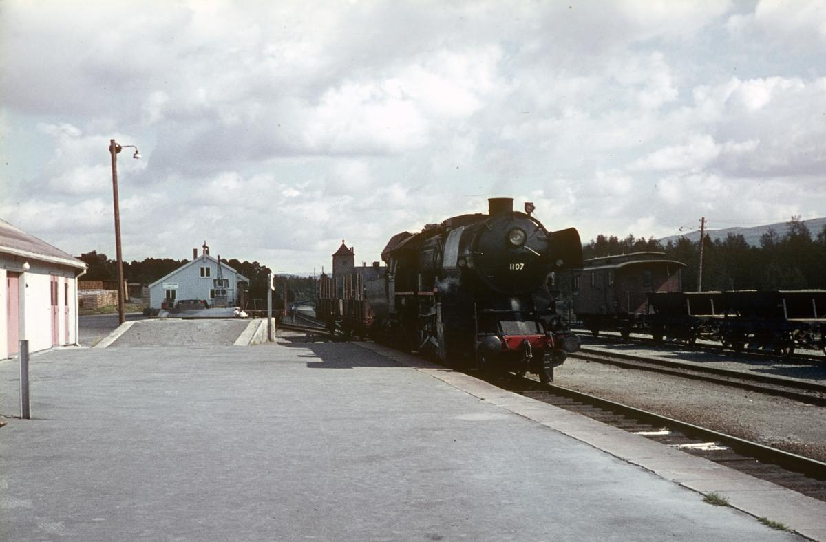 Godstog 5704 under oppholdet på Oppdal stasjon.