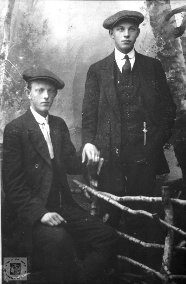 Portrett av to fettere i finstasen. Oscar Birkeli og Gustav Bjørkelid, Laudal.