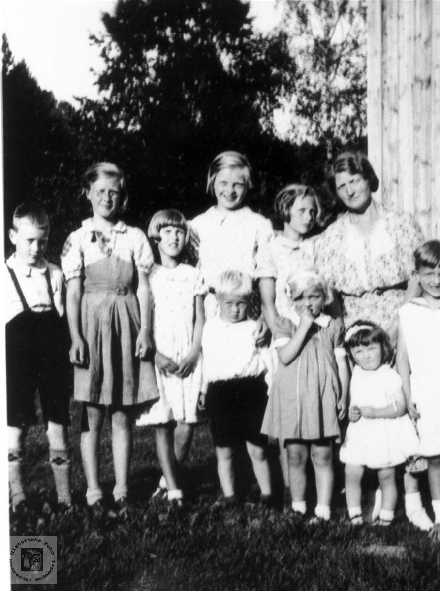 Barneflokk fra Åsan, Breilid og Stedjan i Bjelland.
