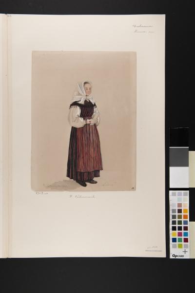 """""""Lima"""" . Kvinna i dräkt. Akvarell av P Södermark 1850."""