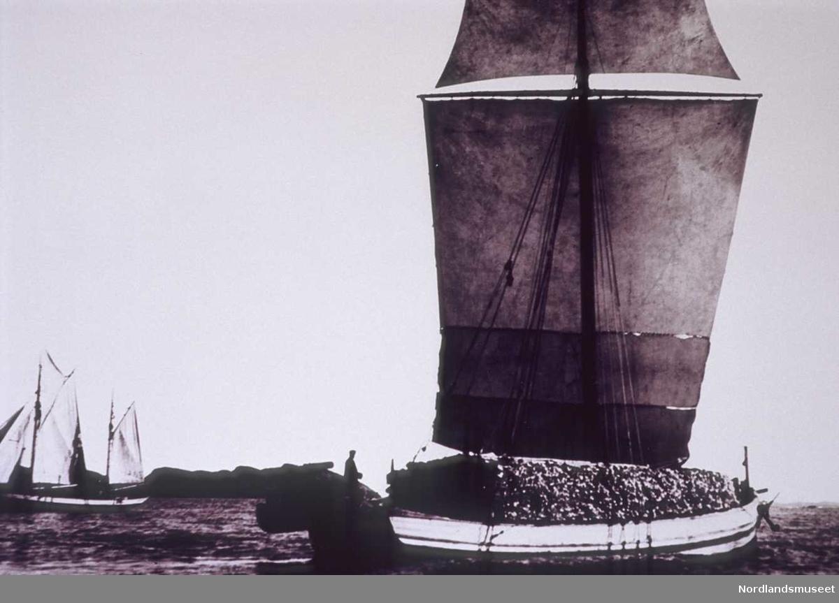 Nordlandsjekt med stor last.  I bakgrunnen til venstre seiler en galeas. Se: Svein Molaug. Vår gamle kystkultur. Bd. 1,  1985, s. 139