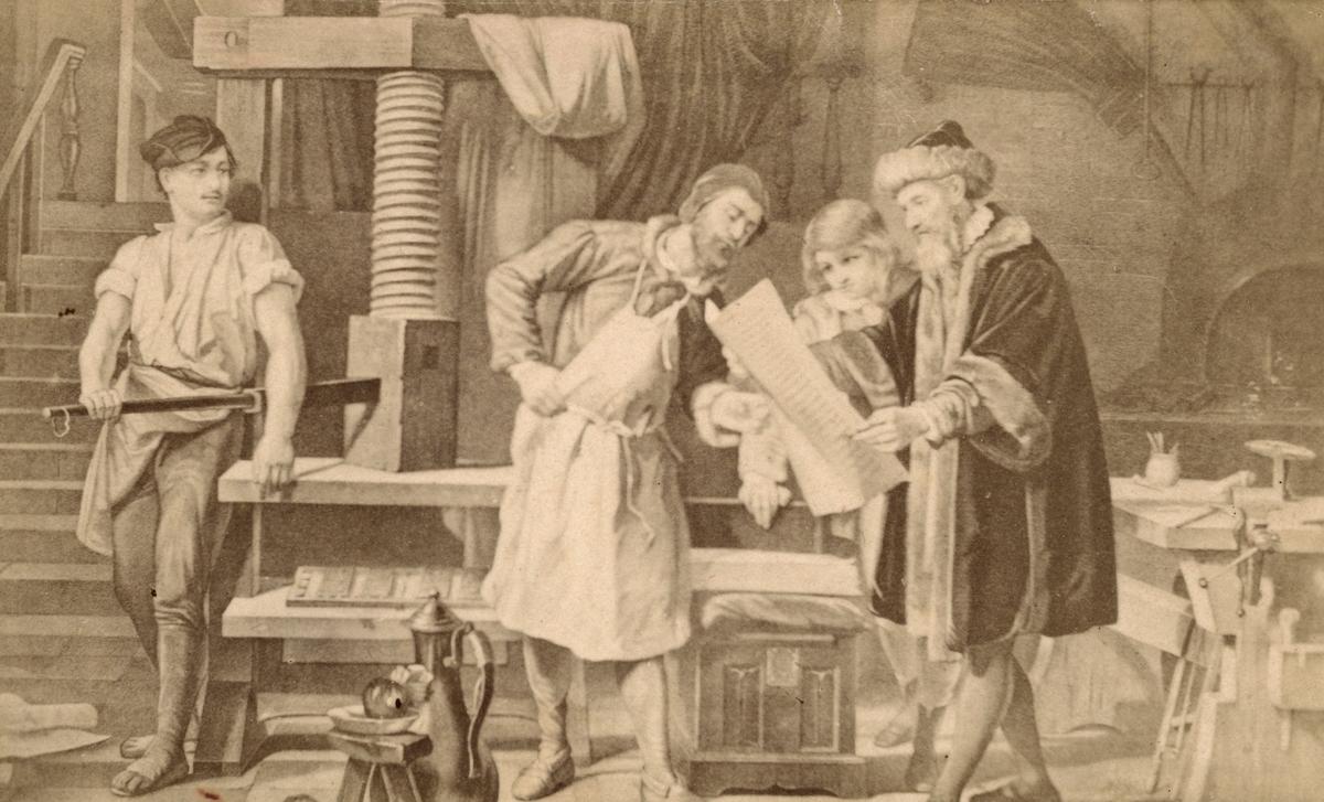 Boktryckerikonstens uppfinnare Johann Gutenberg i sin verkstad. Illustration från 1860-talet.