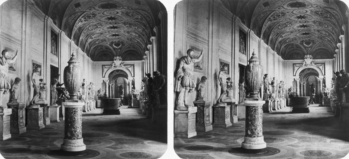 Stereobild. Nr 239 aderie der Statuer, Notre Dame.