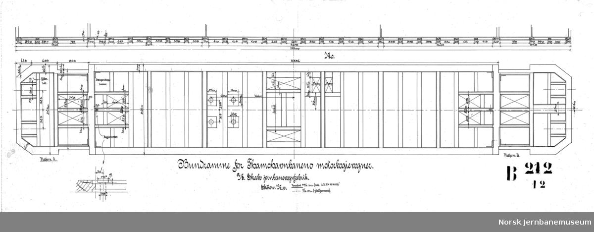 Tegning av motorbogievogn for Thamshavnbanen. B212-1 hovedtegning B212-2 understilling B212-3 boggie B212-4 endeplattform A B212-5 endeplattform B B212-12 bunnramme