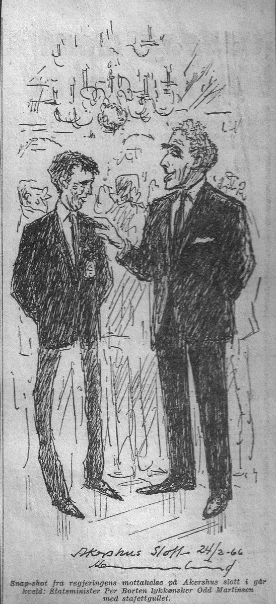 Faksimile fra Dagbladet februar 1966: Statsminister Per Borten lykkønsker Odd Martinsen med stafettgullet. Skigruppa Nittedal IL
