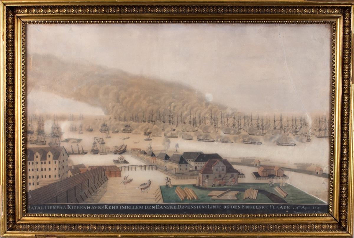 Det britiske angrepet på Københavns red i 1801. Sett fra bastillen mot den britiske flåten.