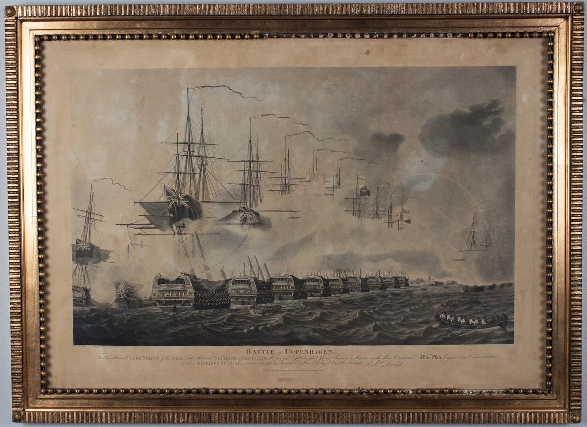 Slaget om København, britiske skip angriper. 16 sjalupper ros mellom skipene som angriper hverandre.