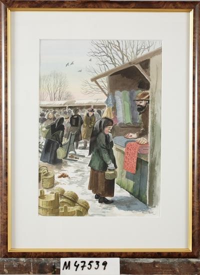 Akvarellmålning. Motivet föreställer en liten flicka, klädd i grön kappa, brun kjol  och en svart sjalett, som står framför ett marknadsstånd med tyger.  I bakgrunden syns marknadsbesökare och marknadsstånd.