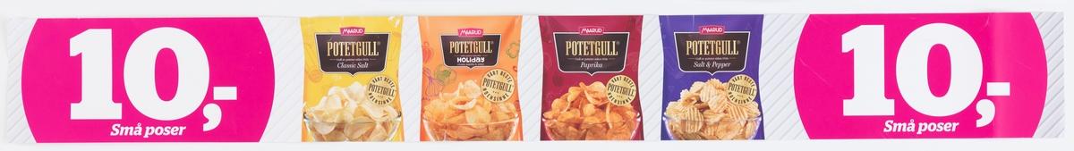 Fotografi av 4 ulike poser med potetgull fra Maarud. Fra venstre: Potetgull Classic Salt, Potetgull Holiday, Potetgull Paprika, Potetgull Salt & Peper. På alle posene står det i en rund gull sirkel: Vårt beste potetgull