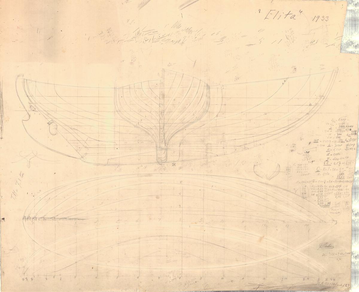 2 ritningar, plan, profil, spant och segelritning