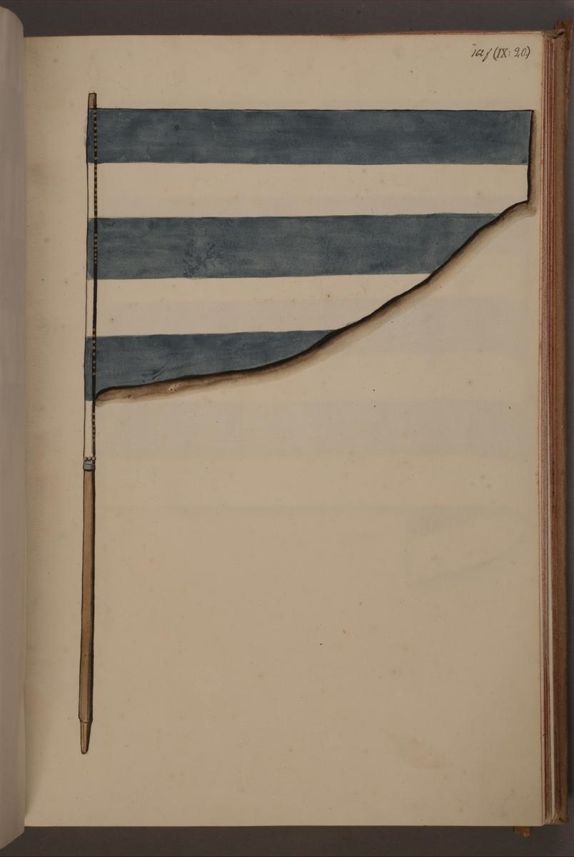 Avbildning i gouache föreställande fälttecken taget som trofé av svenska armén. Möjligen samma fana som AMA.0004091.