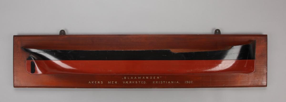 Halvmodell av DS BLAAMANDEN montert på treplate.