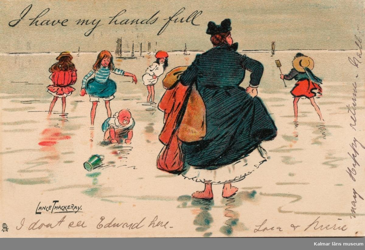 """Vykort till Kristina Andersson, född 1865 i Böda, syster till N J Andersson, när hon bodde i USA. Handskriven text: """"I don´t see Edward here. Sara & ... [oläsligt namn] . Many happy returns Nellie."""