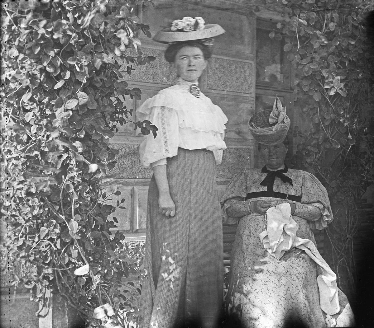 Gruppebilde. 2 kvinner med hatt, en stående den andre sitter, hengeplanter og en murvegg i bakgrunnen