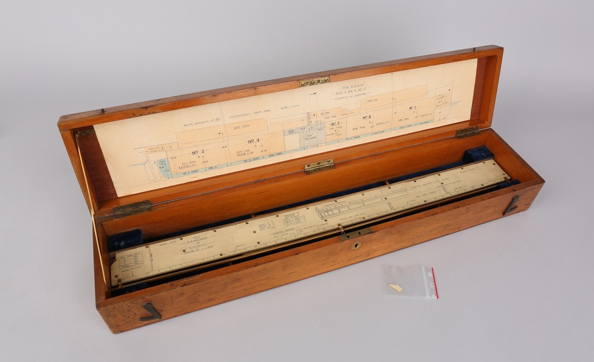 Lasteinstrument i trekasse: inneholder linjal (stor og liten), tegning av SS CECIL, sokkelplate med feste for 3 stk. armer som lastelinjal henges opp i.