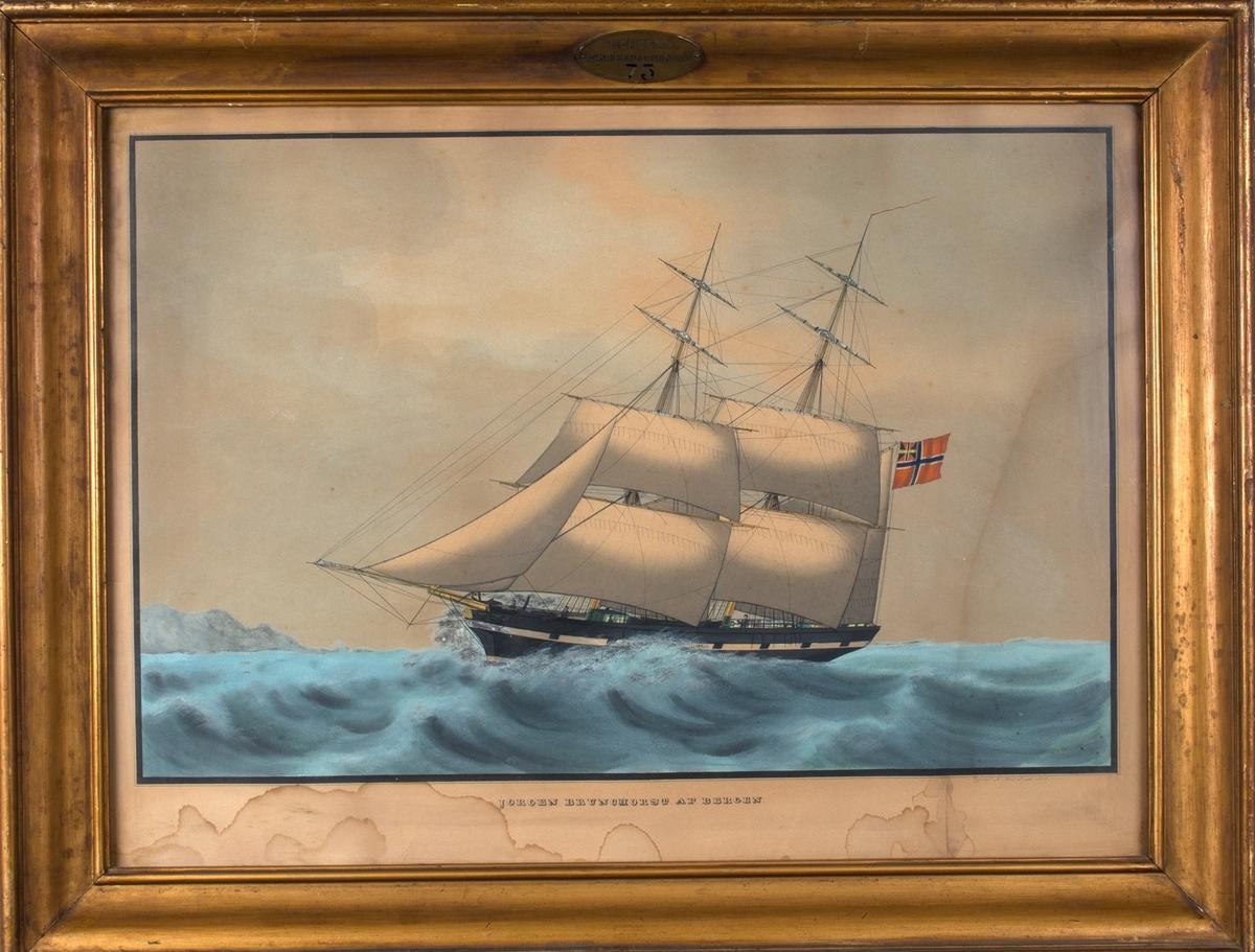 Skipsportrett av briggen JØRGEN BRUNCHORST. Fører unionsflagg på bakre mast. Kystlandskap i bakgrunnen.