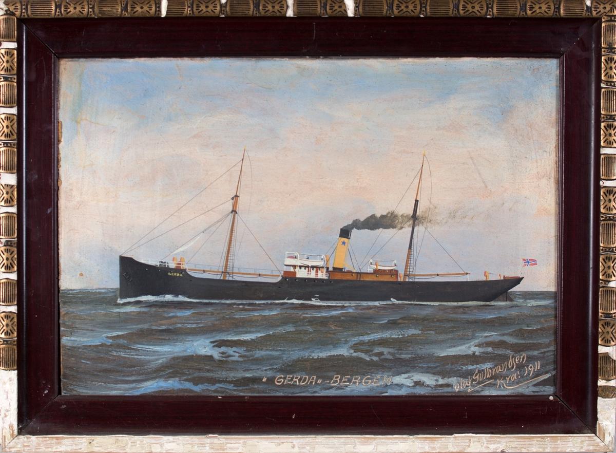 Skipsportrett av DS GERDA på åpent hav.