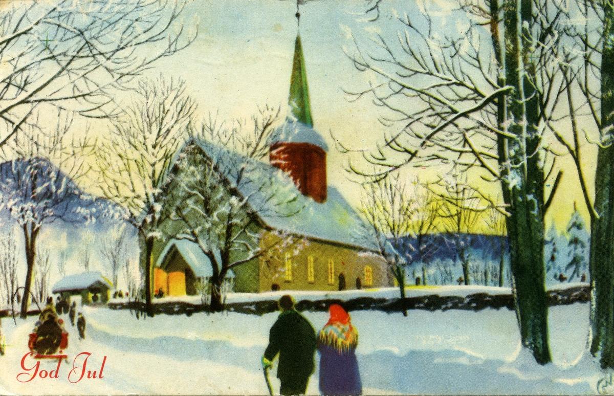 Julekort. Jule- og nyttårshilsen. Vintermotiv. Kirkegjengere på vei til kirke.