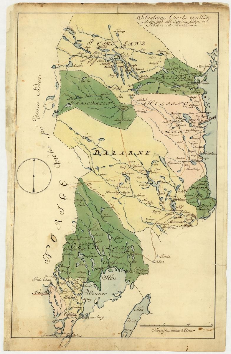 Karta över området mellan Strömstad, Bohuslän, och Frösön i Jämtland. Kartan är från 1700-talet och är ritad och färglagd för hand.