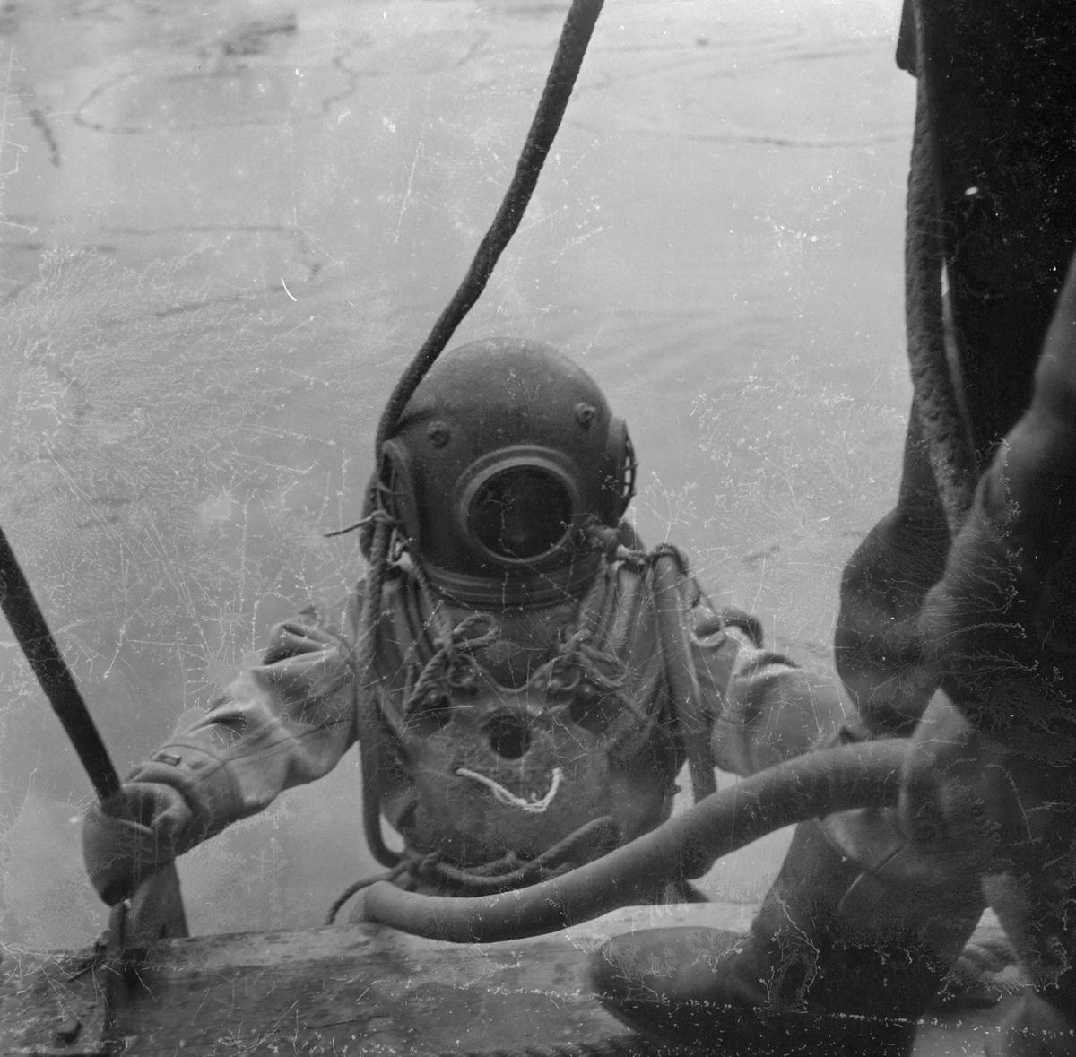 Sjøforsvarets Dykker- og froskemannskole holder avsluttende prøver på Nyhavna.