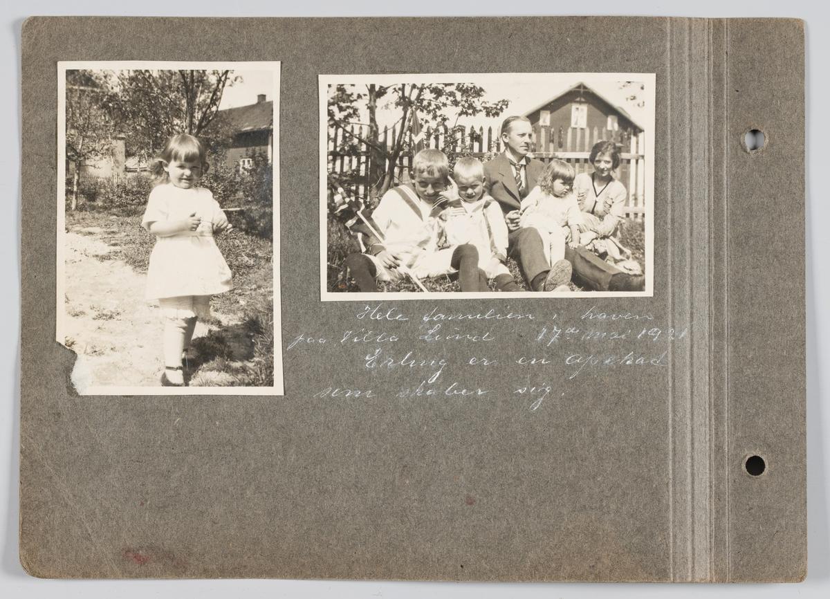 Bilde til venstre: Vera Holck f Michelsen. Bilde til høyre: Hele familien Michelsen.  Begge bilder tatt i hagen til Villa Lund på Strømmen 17.mai 1921