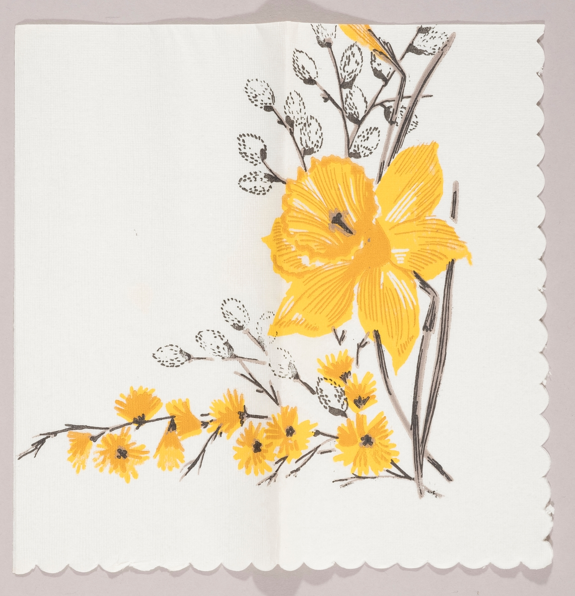 """En påskelilje og grener med """"gåsunger"""" og gule blomster"""