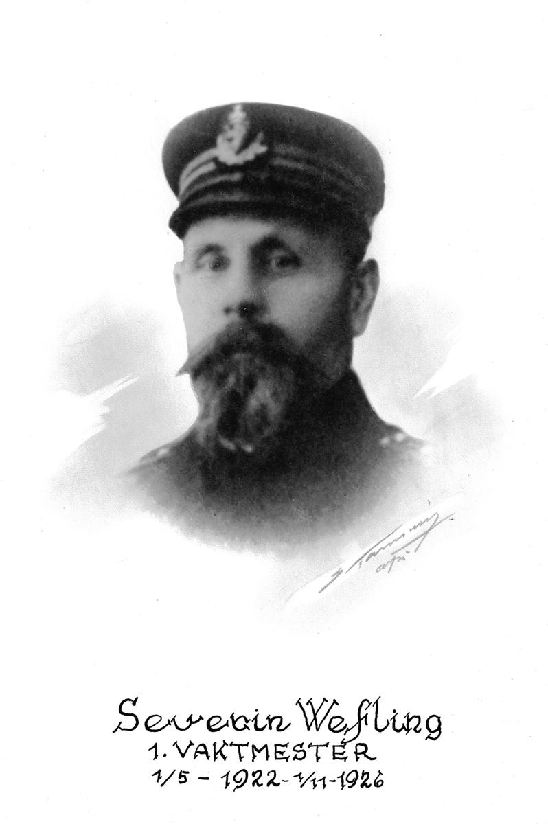 Portrett av Severin Wefling, vaktmester ved Botsfengselet