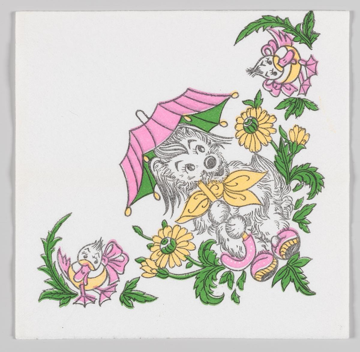 En figur som likner på en hund sittr med rosa paraply og tøfler og en gul sløyfe rundt halsen mellom dekorative blomster. På begge sider er plassert to ender med rosa sløyfer.
