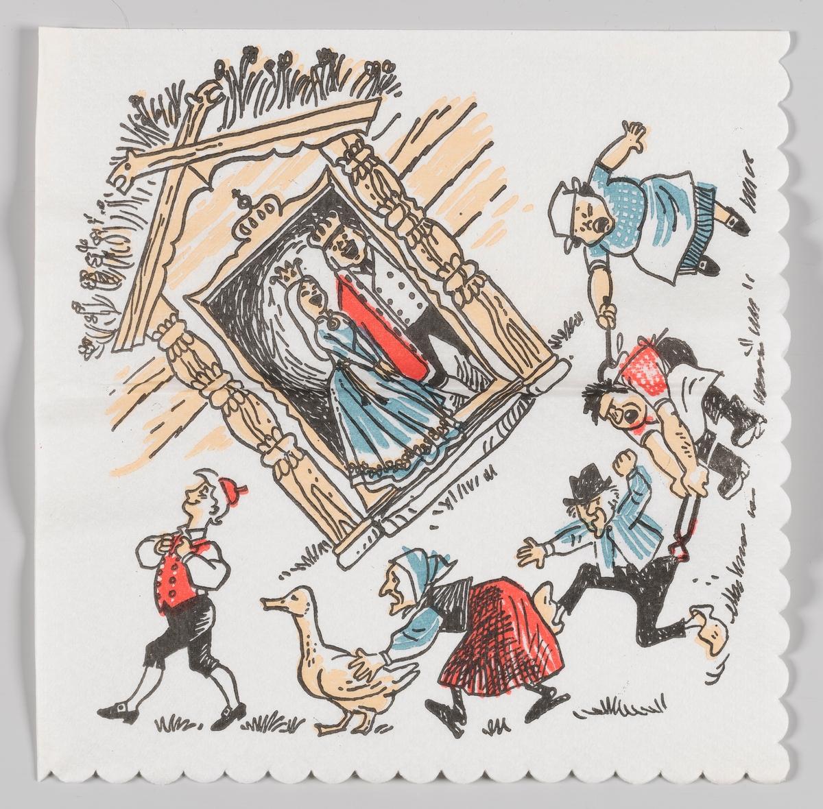 Tyrihans som fikk kongsdatteren til å le. Tyrihans går forbi på tunet fulgt av en gås og flere personer som henger sammen. Kongen og kongsdatteren står i et inngangsparti og ler av opptrinnet.