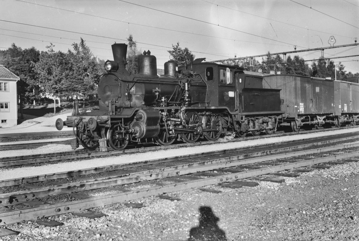 Godstog fra Arendal på Nelaug stasjon. Toget trekkes av damplokomotiv type 21e nr. 202.