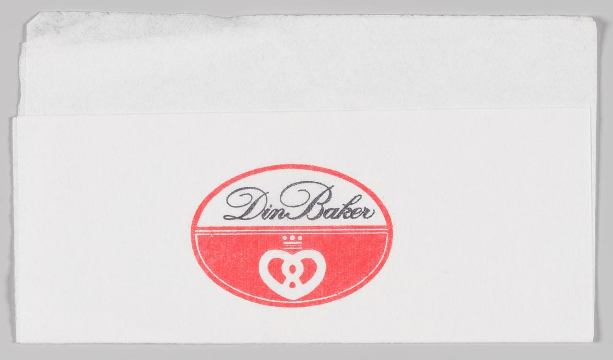 Et skilt med en kringle med krone og reklametekst for Din Baker.
