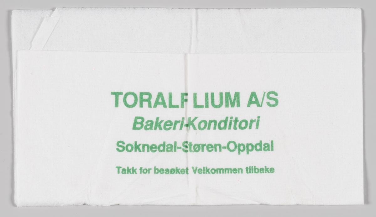 En reklametekst for Toralf Lium Bakeri og Konditori i Soknedal.  Toralf Lium Bakeri og Konditori A/S i Soknedal ble startet i 1945 av Toralf Lium og stoppet driften i 2007 på grunn av konkurs.