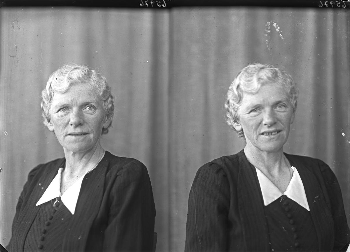 Portrett. Eldre kvinne i mørk kjole med hvit krage. Bestilt av Fru Hauge Pedersen. Tornesgt. 2.