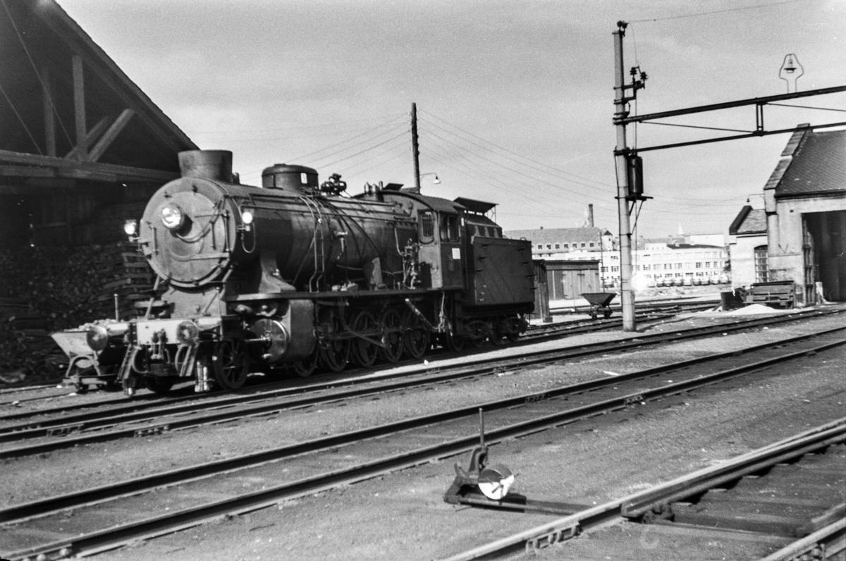 Damplokomotiv type 39a nr. 308 på Bergen stasjon.
