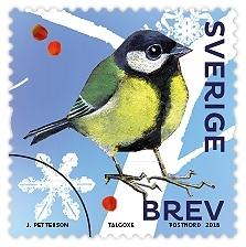 Frimärken i häfte med tio självhäftande frimärke med motiv av tio olika sorters vinterfåglar. Valör Brev.
