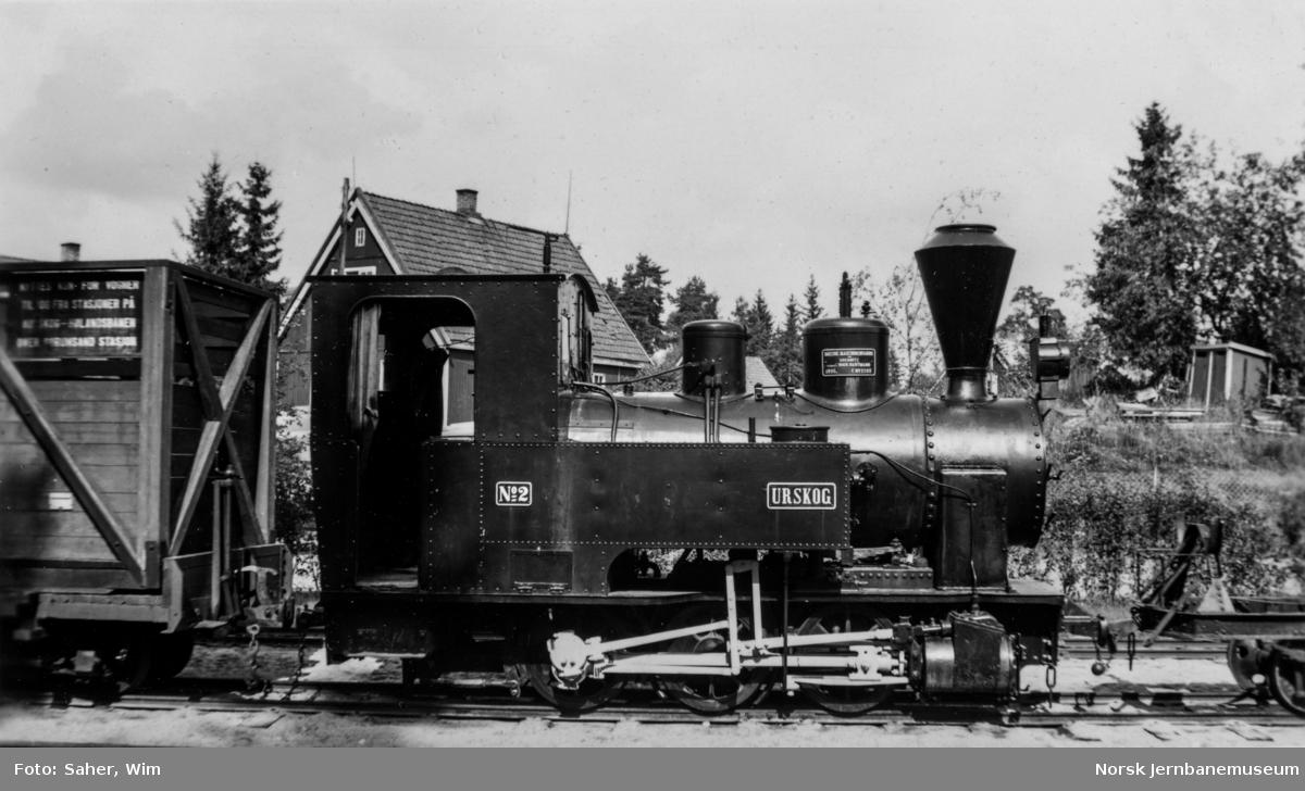 "Damplokomotiv NSB type XXVII nr. 2 ""Urskog"" utstilt på Jernbanemuseet."