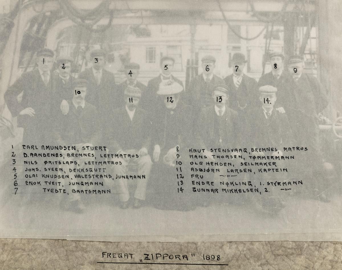 "Mannskapsbilde - Fregatt ""Zippora"" 1898"