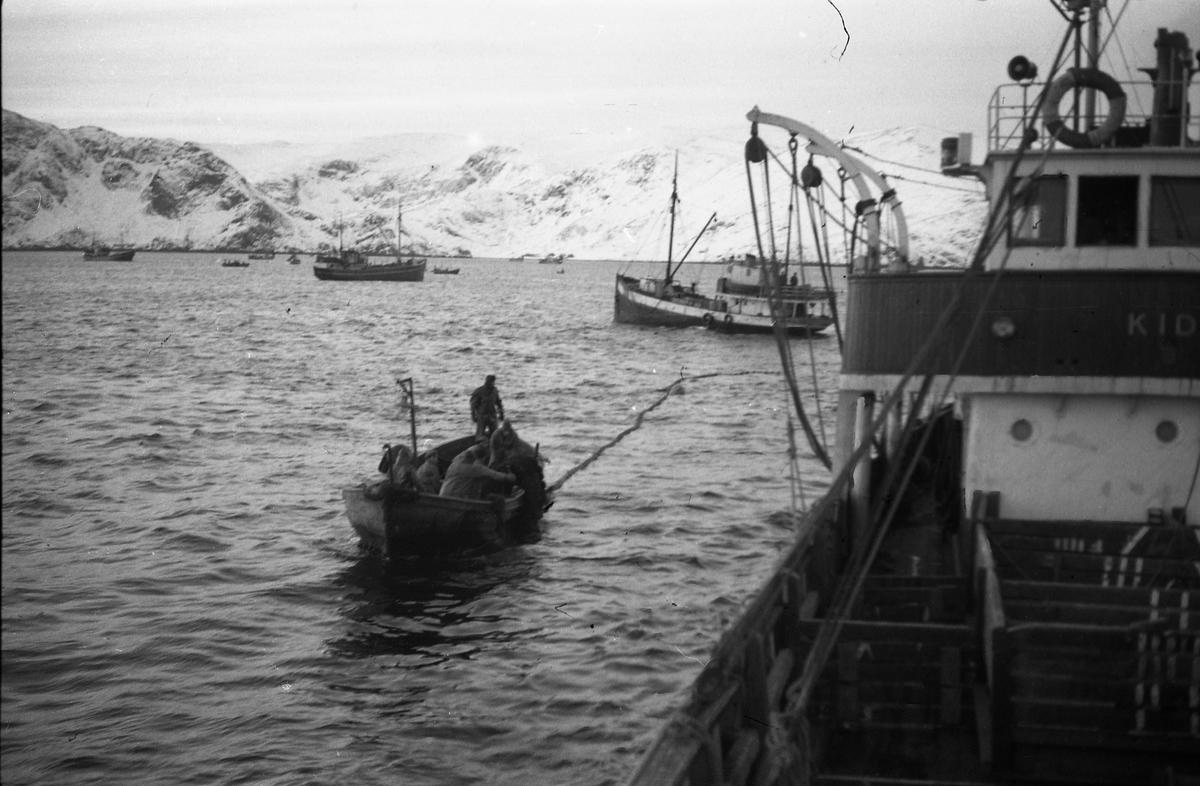 Seks bilder fra et fiskefelt, trolig sildefiske med not. Bildene er tatt av en person ombord i ei skøyte som heter KIDD, og viser ulike faser i fangstprosessen. Hvor bildene er tatt er ukjent. Ingen av personene, er identifisert.