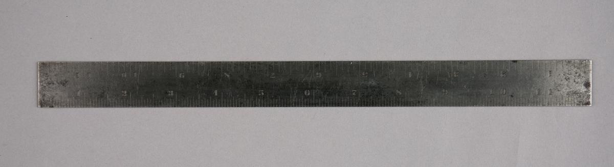 Tommestokk. Linjal, del av samling verktøy. Rektangulær tommestokk (britisk).