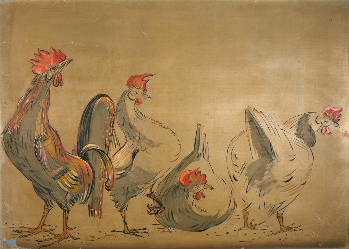 """Silkemaleri med motiv av """"Tre høner og en hane"""". Har vært dekor på hurtigruteskipet LEDA tilhørende BDS."""