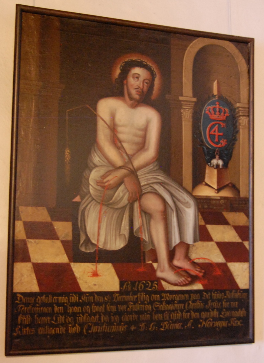 """""""Christian IV's syn"""", olje på lerret. Sittende Kristusfigur med tornekrone og svøp rundt livet, blod sprutende ut av sårene. I en nisje i bakgrunnen til høyre en oppsats med kronet """"monogrammet til Chr. IV"""" og elefantorden."""