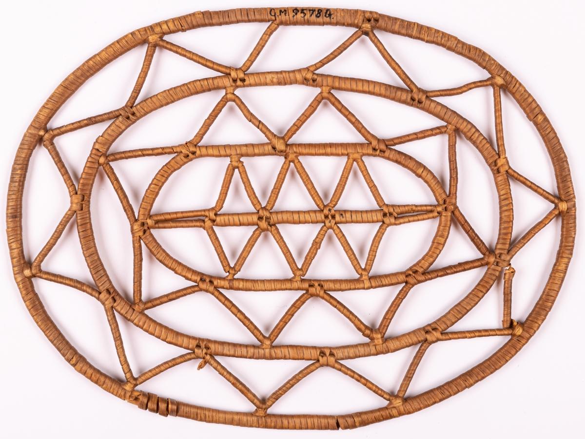 Acc.kat. Korgunderlägg av virade trästavar i genombrutet mönster. Ebba Fick, Gävle.