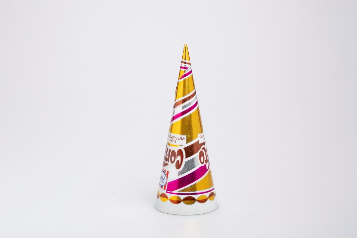 Kjegleformet iskrempapir (kremmerhus) i aluminium. Kremmerhuset er med farger på utsiden, og uten farge (hvit) på innsiden. Papiret har stripete mønster i gull, brunt. lille, sølv og hvit. Stripene strekker seg rundt papiret.
