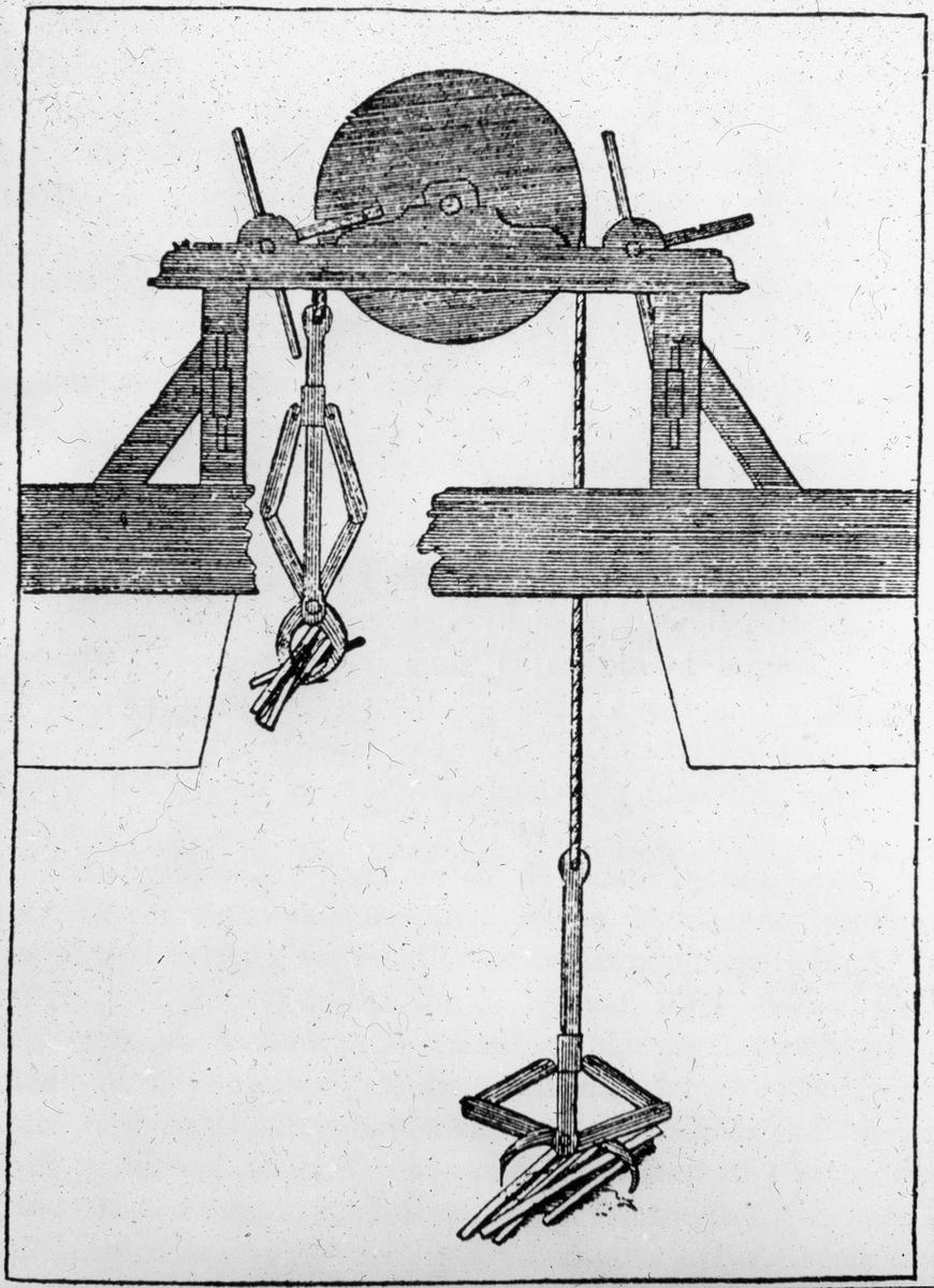 Avfotografert trykk som viser en ukjent trekonstruksjon