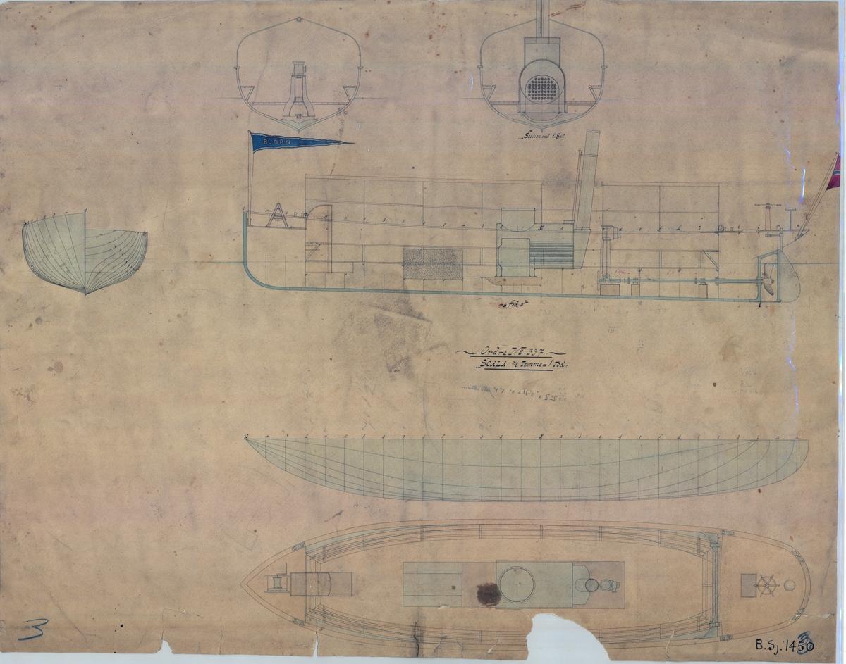 """Ds """"Bjørn"""" bg, 1867, hoved- og linjetenging, (samme ark)."""