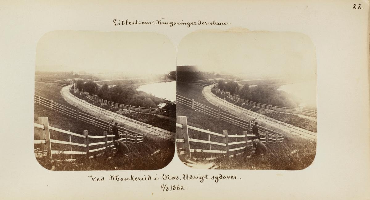 Nylagt spor på Kongsvingerbanen ved Munkerud mellom Haga og Årnes stasjoner. Bildet er tatt 11.08.1862, banen ble åpnet 03.10.1862