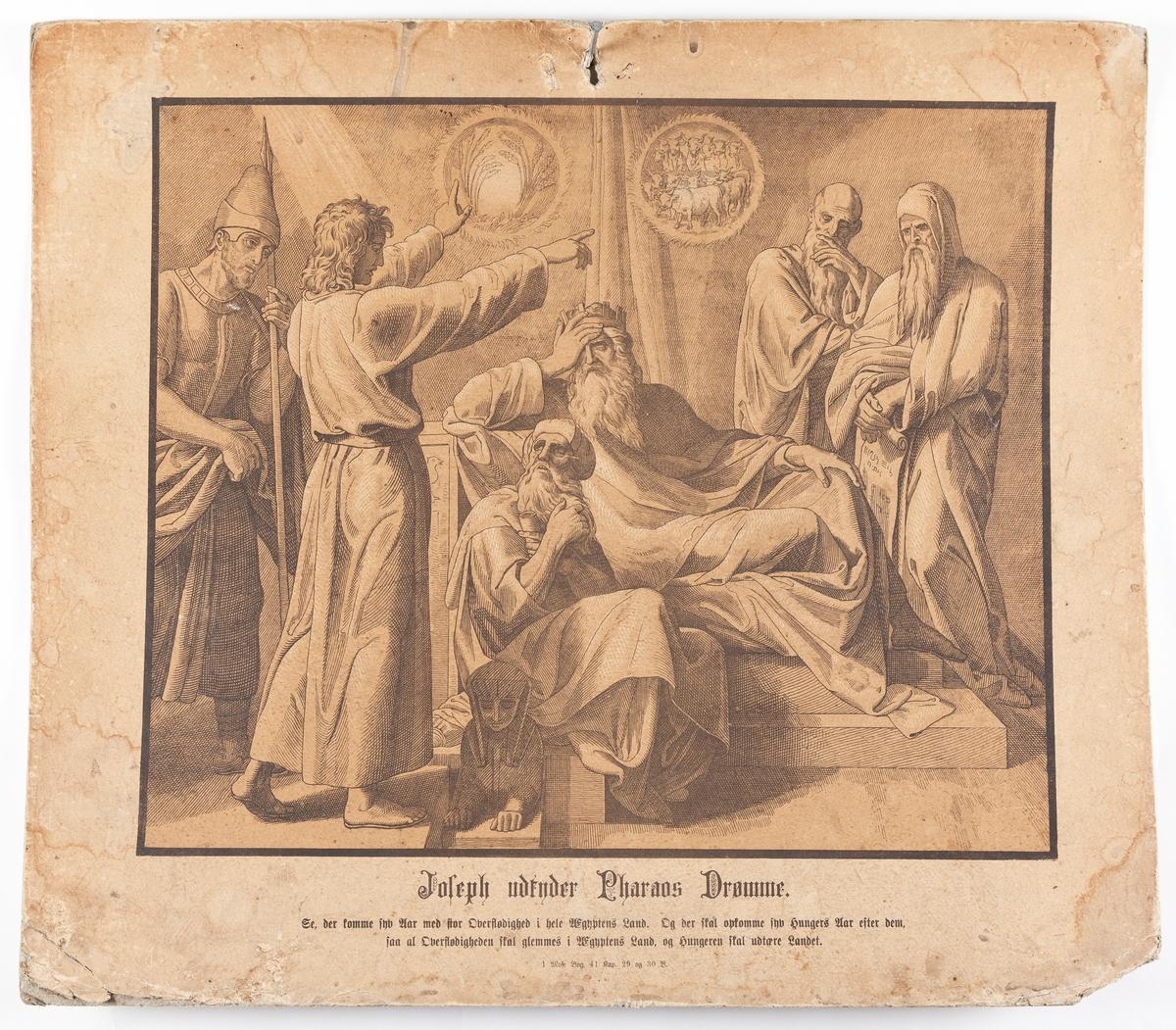 Plansjeserie, i alt 17 plansjer med bibelsk motiv.Bibelvers under illustrasjonen.