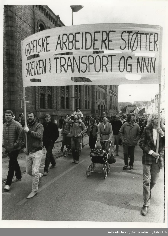 1. mai 1982, Oslo. Parole: Grafiske arbeiedere støtter streiken i Transport og NNN. Bildeteksten i avisen: 1-mai togene var sterkt preget av støtte til de streikende.