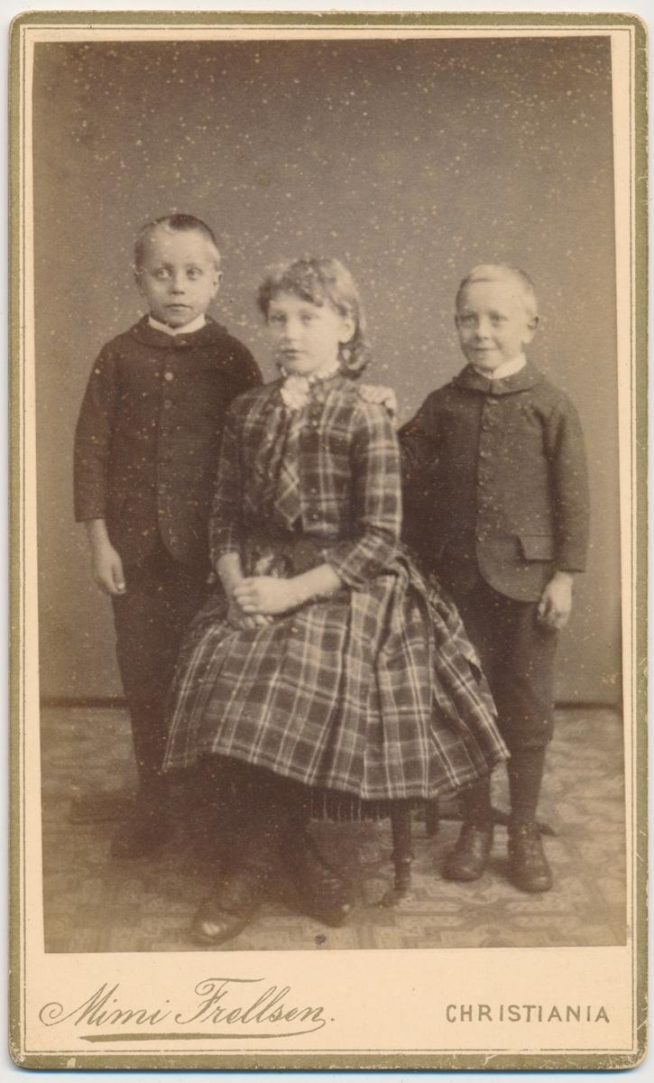 3 søsken Gulbrandsen, 2 brødre og ei søster